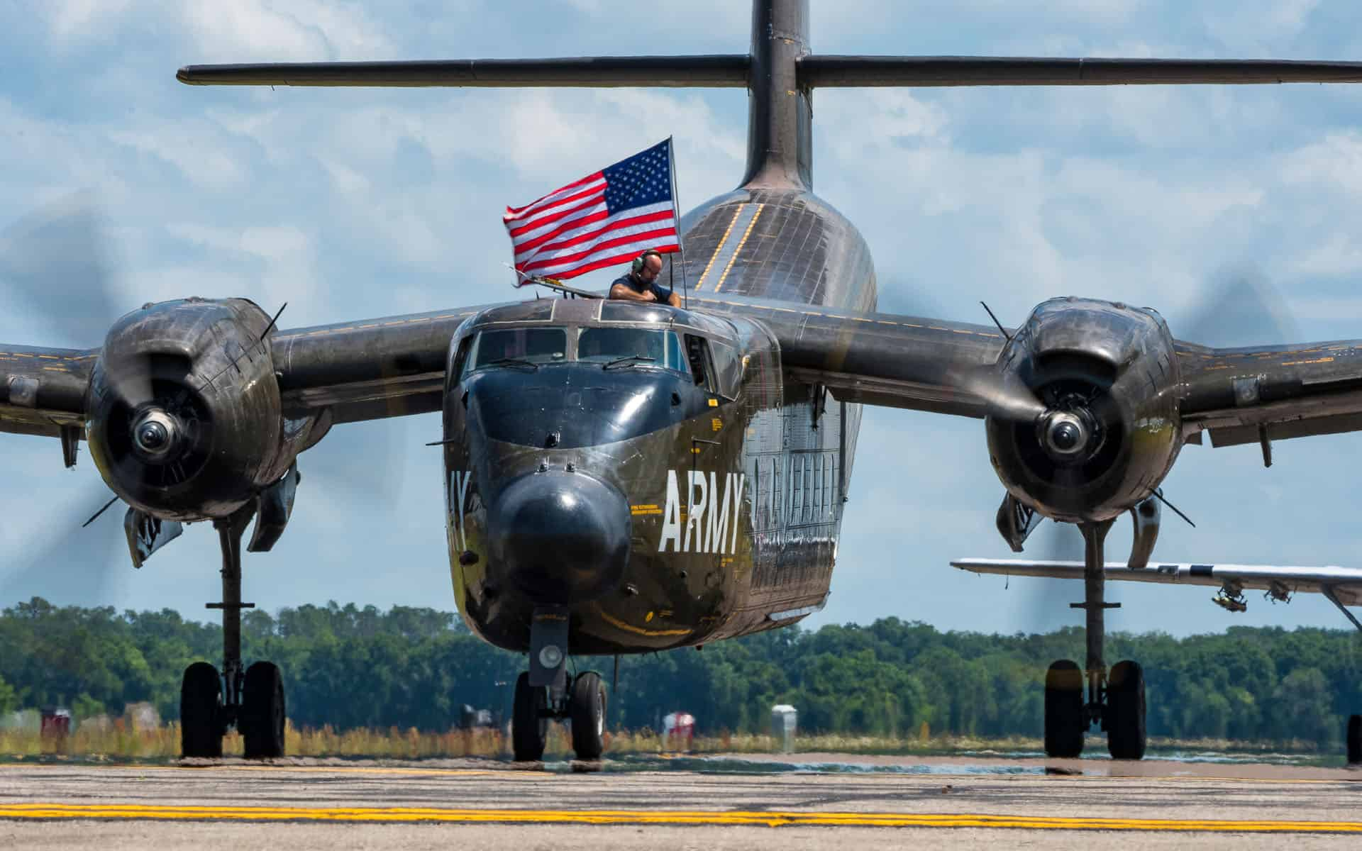 War Plane with American Flag